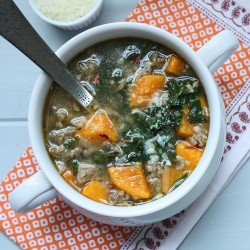 sausage, kale and pumpkin soup