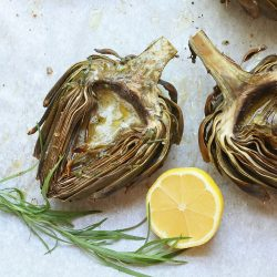 Roasted Artichokes w/ Lemon Tarragon Butter