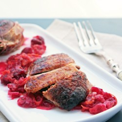 Roasted Duck with Cranberry, Orange & Cardamom Glaze