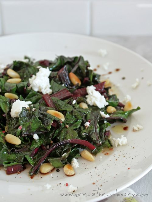 wilted beet greens salad with goat cheese and pine nuts