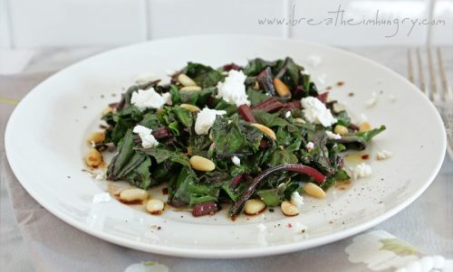 A delicious low carb wilted beet greens salad with goat cheese