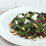 Wilted Beet Greens w/ Goat Cheese & Toasted Pine Nuts