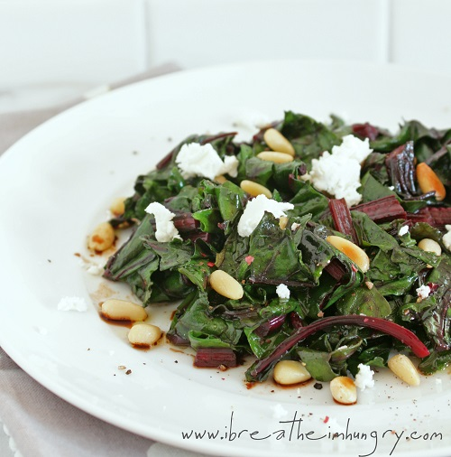 Wilted Beet Salad with goat cheese and pine nuts