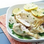 Easy Crock Pot Roasted Chicken w/ Lemon Parsley Butter (Low Carb)