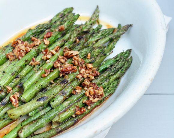 Grilled Asparagus w/ Sriracha & Toasted Pecan Vinaigrette