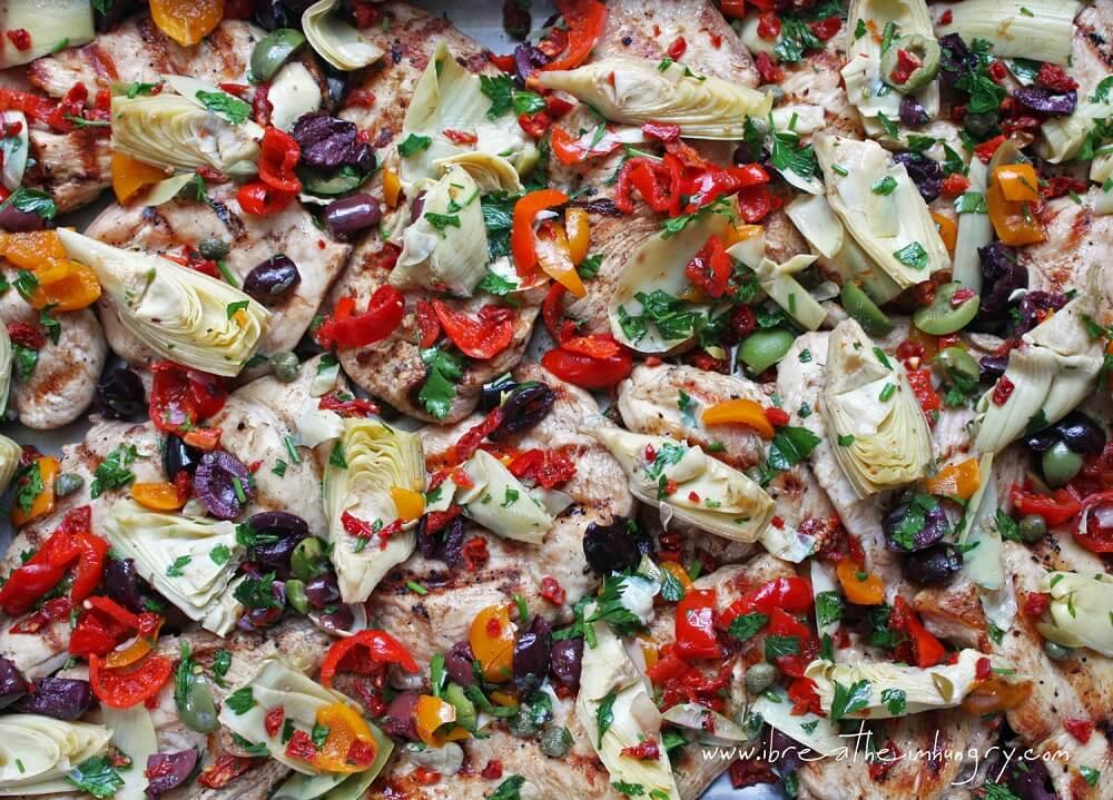 Keto grilled chicken with mediterranean salad