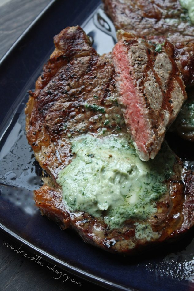 Ribeyes with Gorgonzola Butter