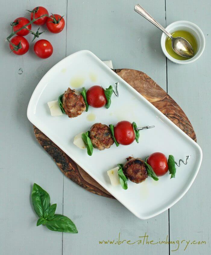 caprese meatball skewers low carb and gluten free