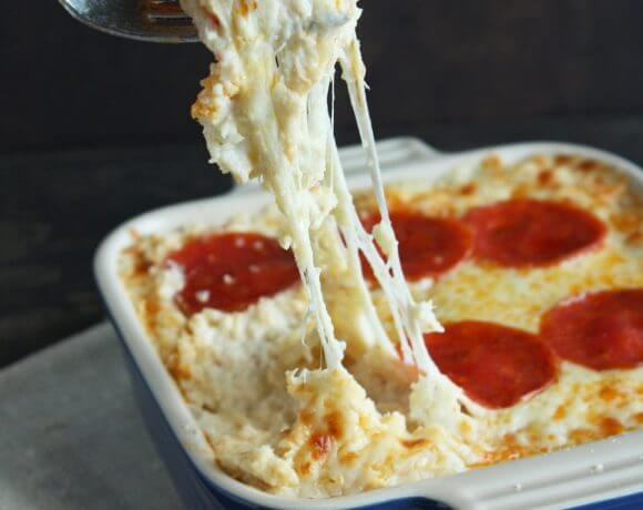 Keto Pepperoni Pizza Cauliflower Casserole – Low Carb