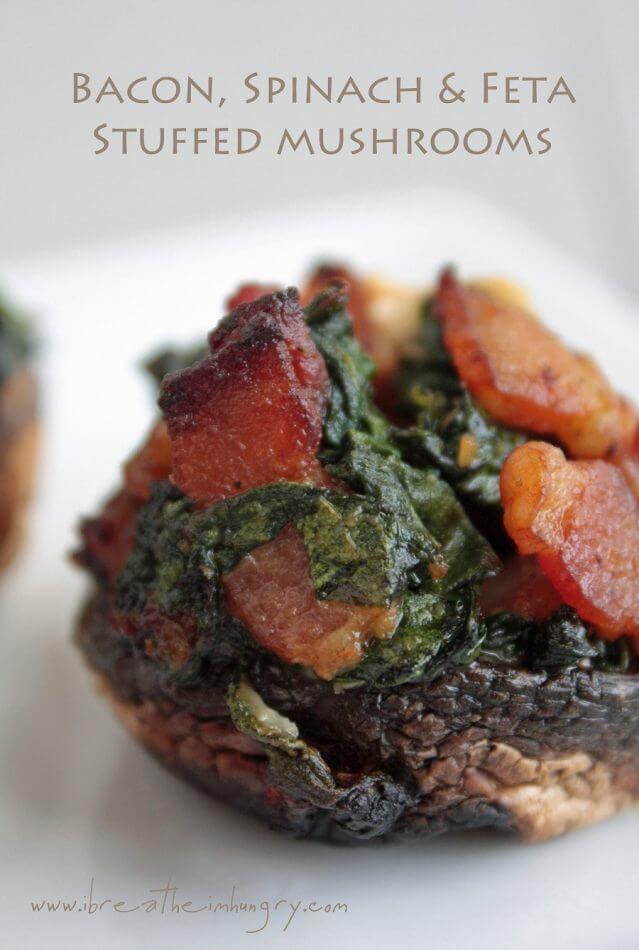 Bacon, Spinach & Feta Stuffed Mushrooms