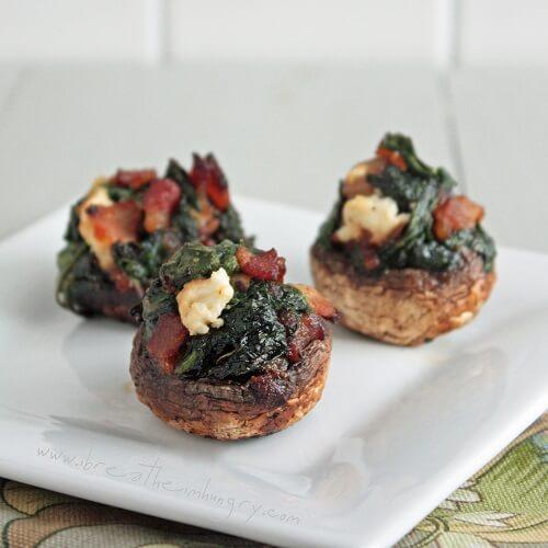 bacon, spinach and feta stuffed mushrooms
