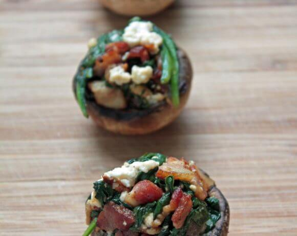 Bacon, Spinach & Feta Stuffed Mushrooms (Low Carb & Gluten Free)