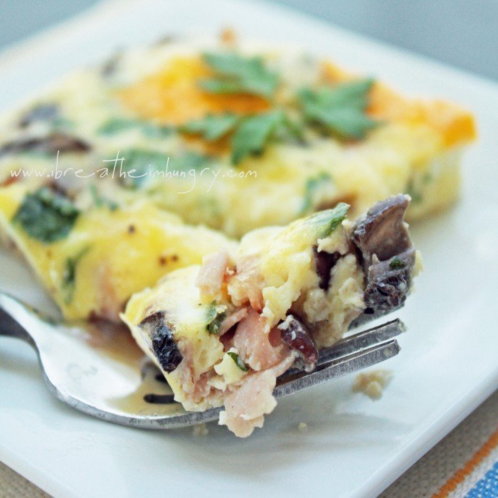 Easy low carb Ham, Cheese & Mushroom Frittata gluten free
