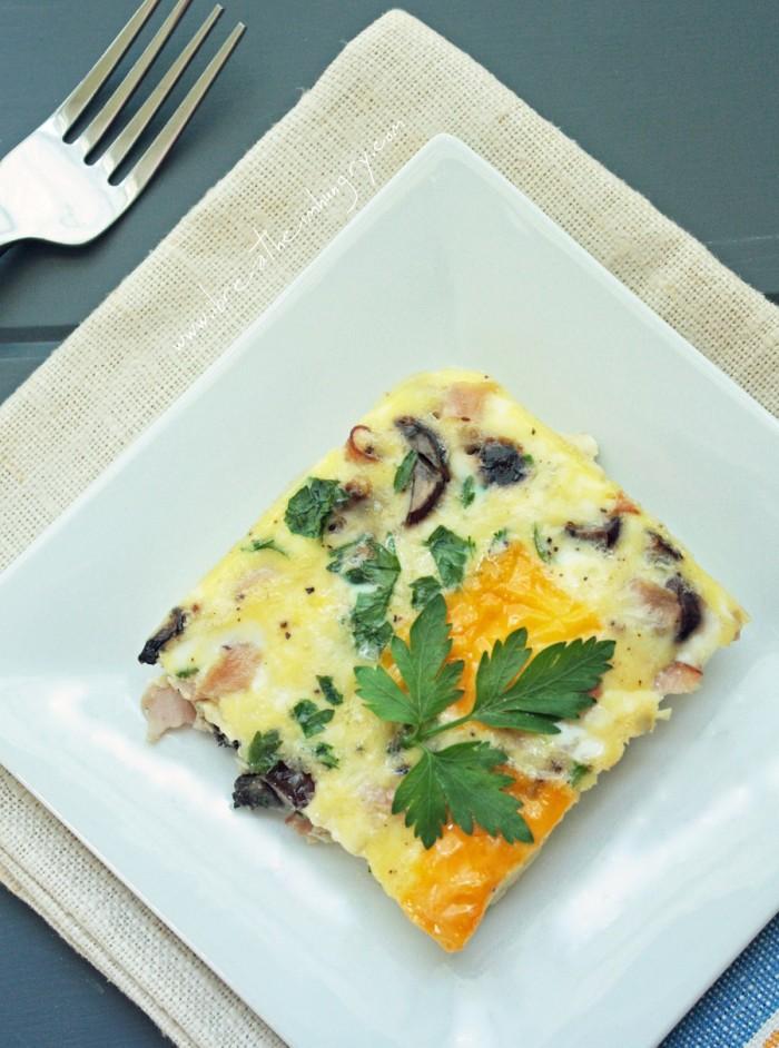 Easy low carb Ham, Cheese & Mushroom Frittata