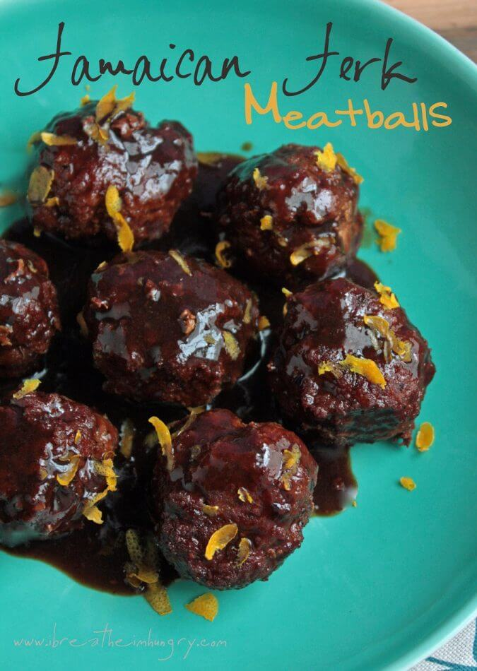 keto jamaican jerk meatballs on an aqua plate