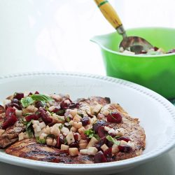 Chicken w/ Cherry, Basil & Jicama Salsa – Low Carb & Gluten Free