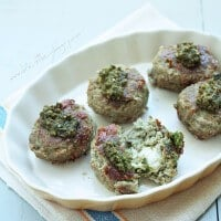 Mozzarella Stuffed Turkey Pesto Meatballs (Low Carb & Gluten Free)