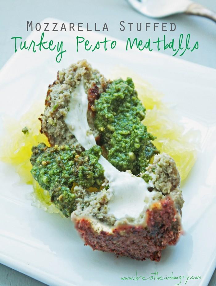 turkey pesto meatballs stuffed with mozzarella cheese