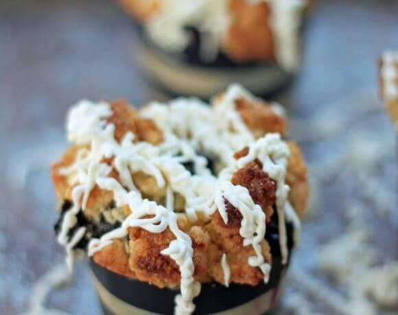 Blueberry Streusel Muffins w/ Lemon Cream Cheese Icing (Low Carb and Gluten Free)