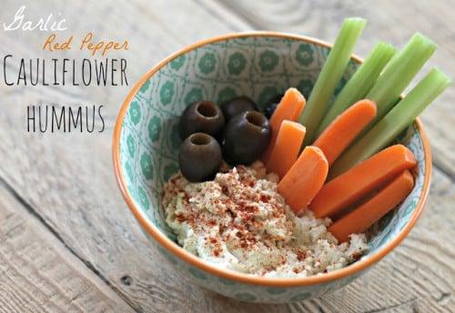 garlic red pepper cauliflower hummus