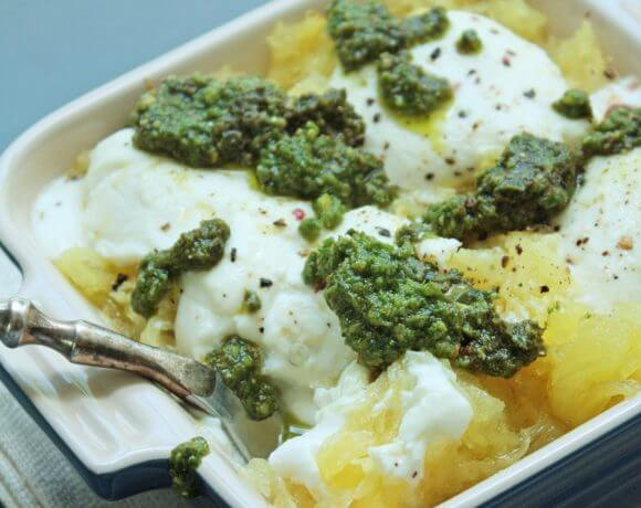 Cheesy Spaghetti Squash with Pesto (Low Carb and Gluten Free)