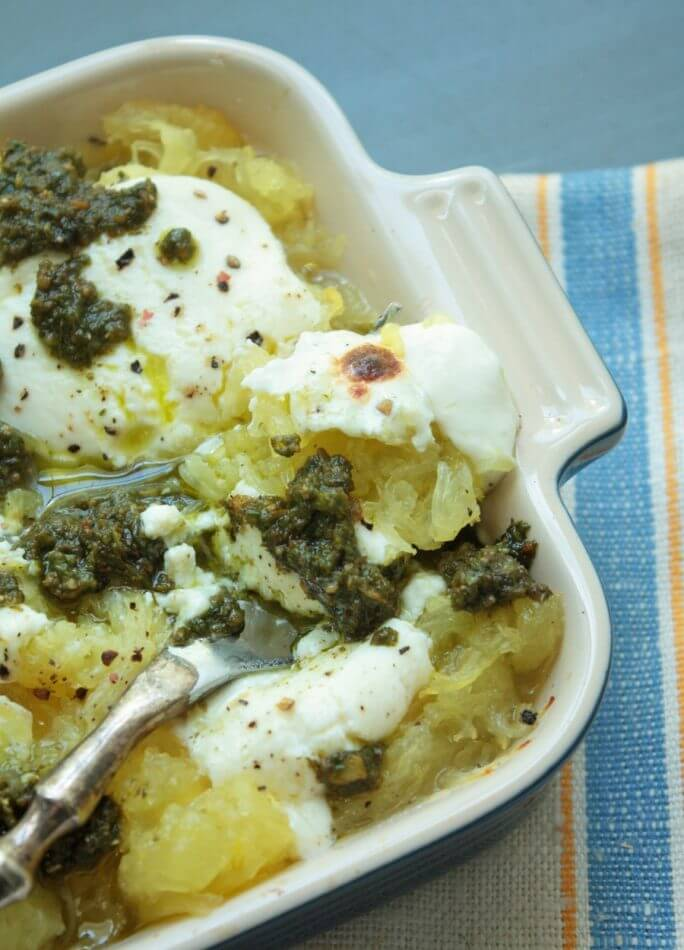 spaghetti squash with pesto and ricotta from ibreatheimhungry.com
