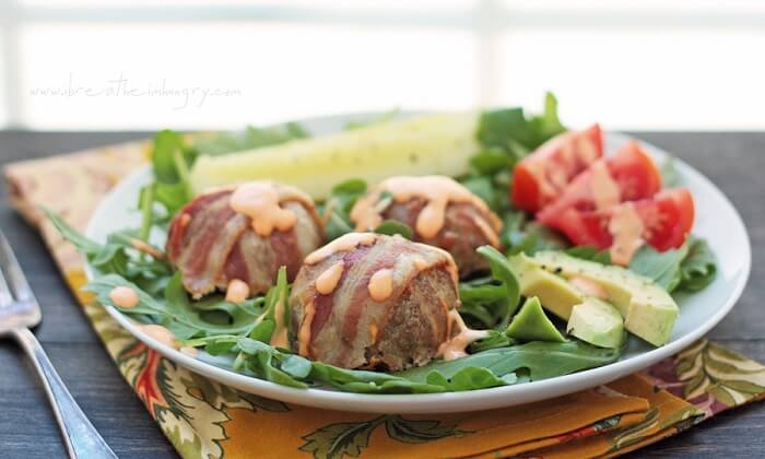 low carb turkey club meatball recipe from ibreatheimhungry.com