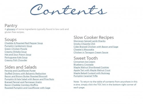 fall ezine table of contents