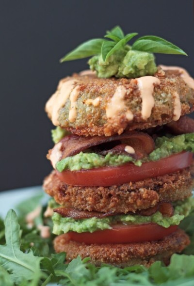 low carb and gluten free fried green tomato recipe from Ibreatheimhungry.com
