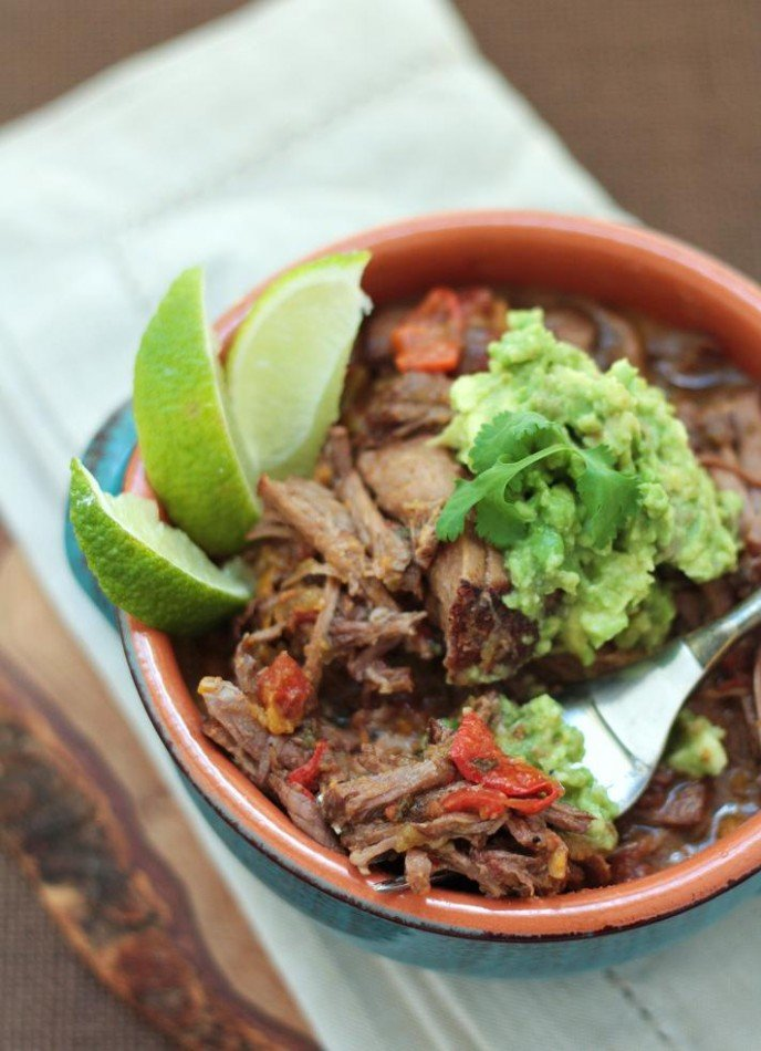 A delicious low carb ropa vieja style Cuban Pot Roast recipe for the slow cooker