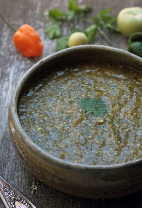 low carb tomatillo salsa by mellissa sevigny of ibreatheimhungry.com