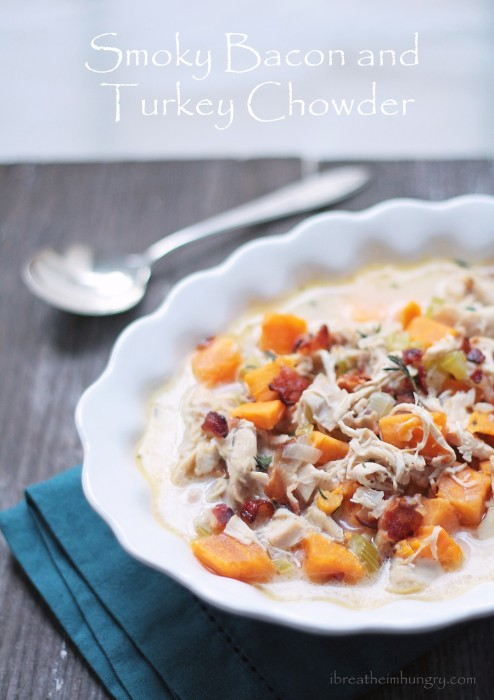 low carb turkey chowder recipe from ibreatheimhungry.com