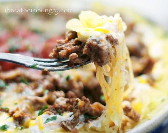 Cheesy Chili Spaghetti Squash Casserole – Low Carb