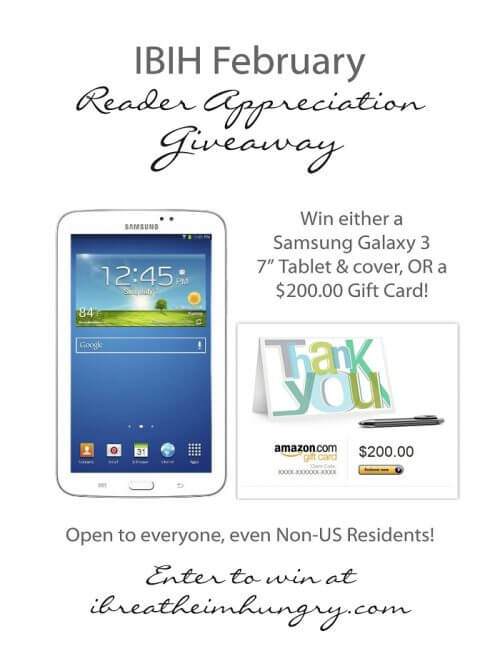 I Breathe I'm Hungry is giving away a Samsung tablet in February