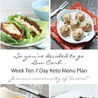 Week Ten 7 Day Keto (Low Carb) Menu Plan