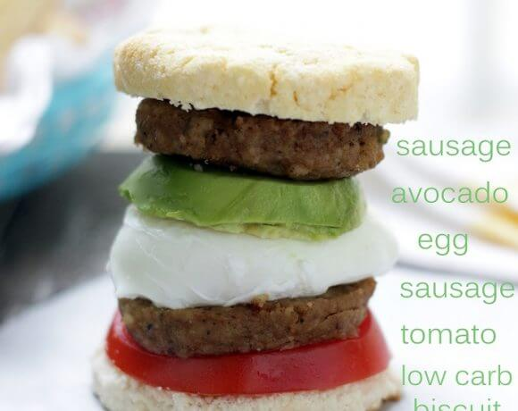 Keto Sausage Biscuit Breakfast Sandwich Recipe from I Breathe Im Hungry