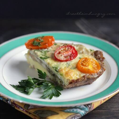 Keto friendly quiche recipe from Mellissa Sevigny of I Breathe Im Hungry