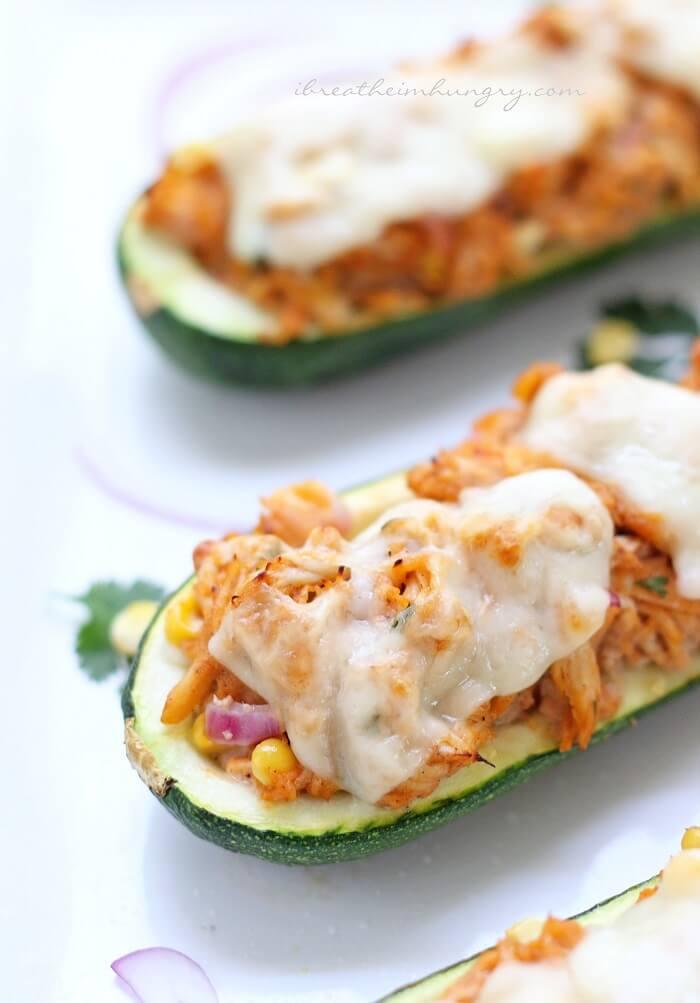 BBQ Chicken Stuffed Zucchini - Low Carb | I Breathe I'm Hungry