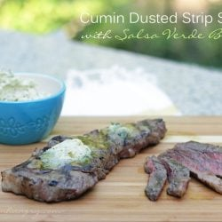 Cumin Dusted Strip Steaks with Salsa Verde Butter