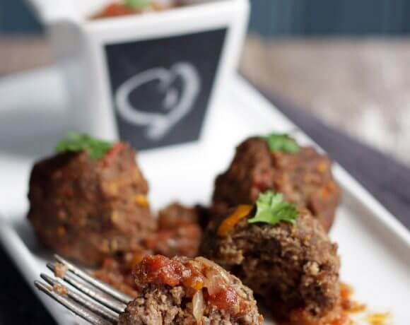 A low carb and gluten free meatball recipe from I Breathe I'm Hungry