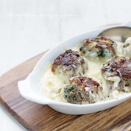 Spinach & Artichoke Dip Meatballs | A low carb and gluten free meatball recipe from I Breathe Im Hungry