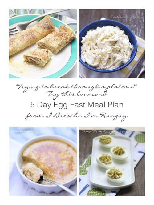 A low carb menu plan for the egg fast diet by Mellissa Sevigny of I Breathe Im Hungry