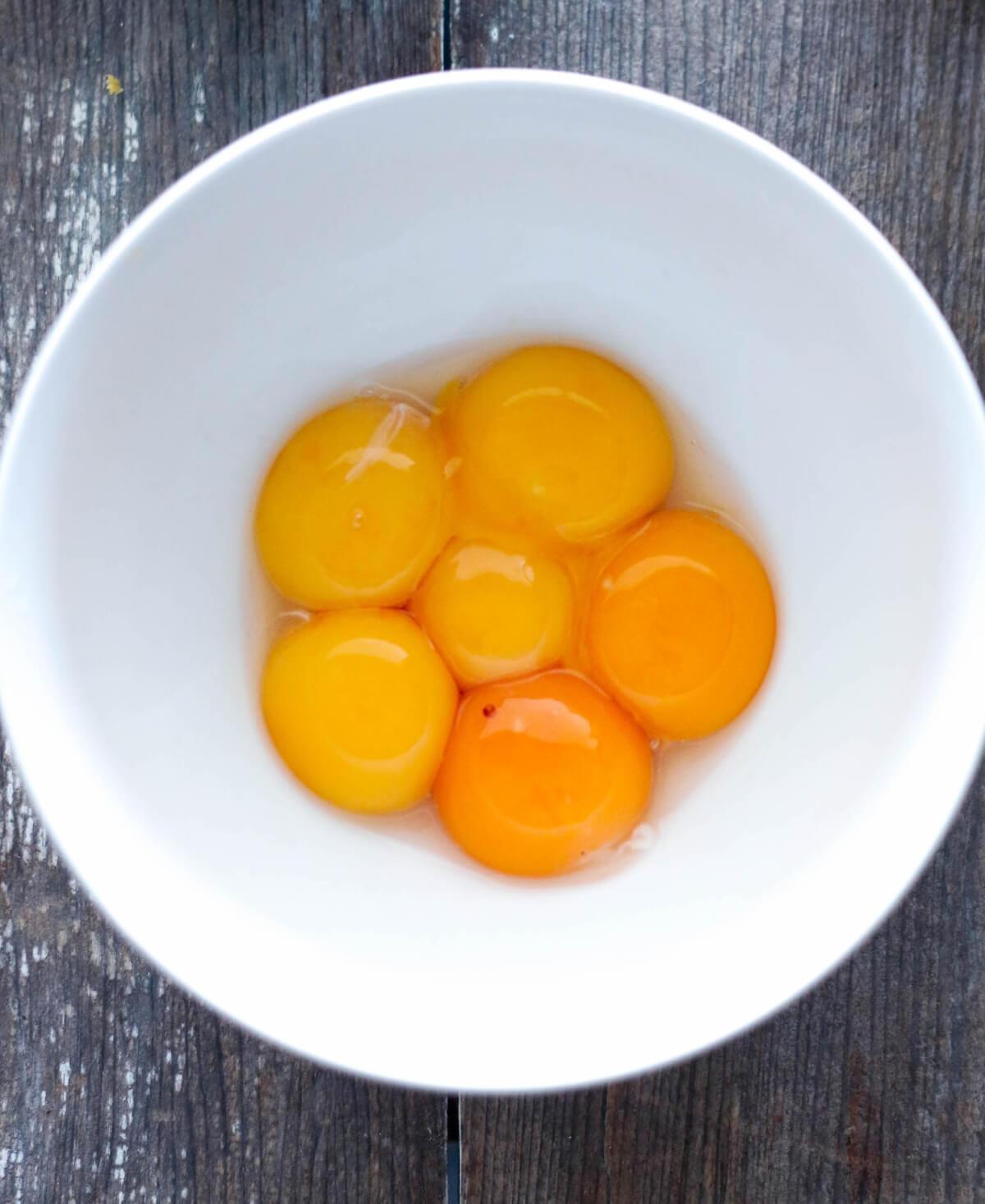 Keto Egg Fast Diet - Egg yolks in white bowl