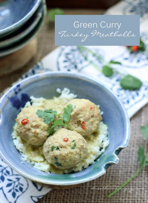 Delicious green curry sauce adorns tender turkey meatballs for the perfect low carb dinner recipe!