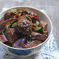 Low Carb Asian Meatballs with Stir-Fried Eggplant