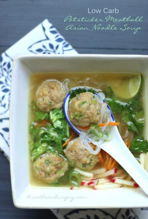 Low Carb Potsticker Meatball Asian Noodle Soup recipe from Mellissa Sevigny of I Breathe Im Hungry