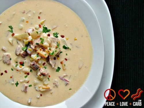Low Carb Smoked Sausage and Beer Soup