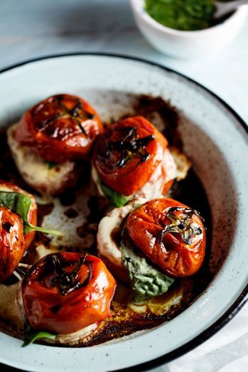 Low Carb Roasted Caprese Tomatoes Recipe
