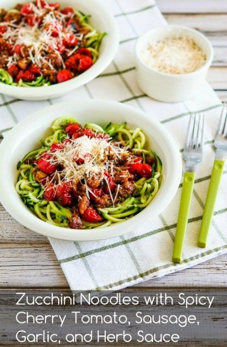 Low Carb Zucchini Pasta with Sausage