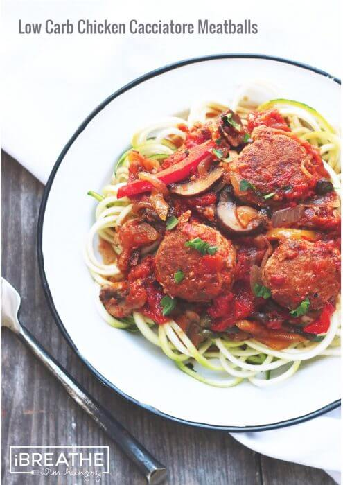 A low carb meatball recipe from I Breathe Im Hungry - keto, lchf, gluten free, Paleo, and Atkins diet friendly!